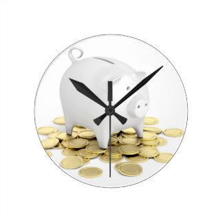 Relógio Redondo Mealheiro e moedas