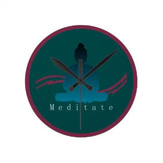 """Relógio Redondo """"Meditate"""" o pulso de disparo de parede bonito de"""