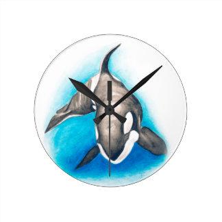Relógio Redondo Mergulho profundo da orca