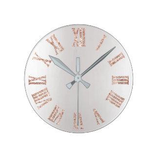 Relógio Redondo Metal mínimo de prata cinzento do brilho