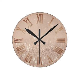 Relógio Redondo Metal mínimo Numer romano do brilho cor-de-rosa do