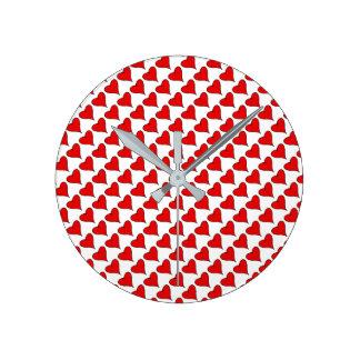 Relógio Redondo Meu texto do coração com coração vermelho do amor