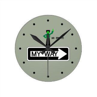 Relógio Redondo Minha maneira - vá para ela!