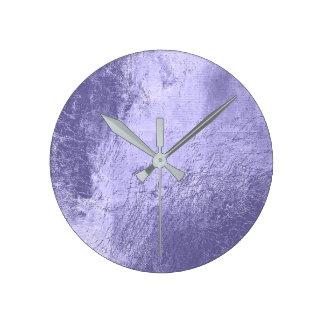 Relógio Redondo Mínimo cinzento de vidro do metal de couro