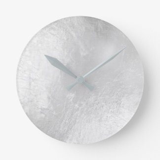 Relógio Redondo Mínimo cinzento de vidro metálico de prata de