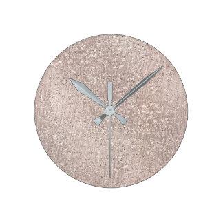 Relógio Redondo Mínimo cinzento de vidro metálico do ouro