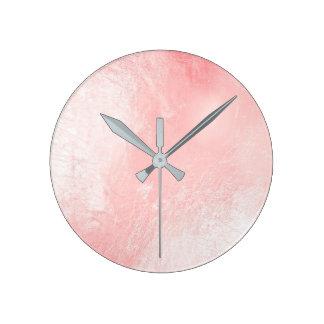 Relógio Redondo Mínimo cinzento de vidro metálico do ouro do rosa