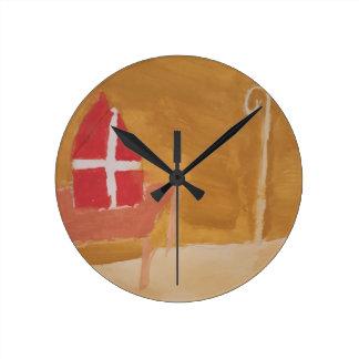 Relógio Redondo Mitra da aguarela de Sinterklaas do Dutch do dia