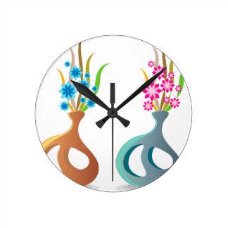 Relógio Redondo ModernVaseFlowers