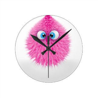 Relógio Redondo Monstro cor-de-rosa macio bonito
