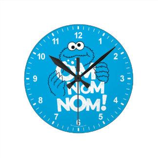 Relógio Redondo Monstro do biscoito | OM Nom Nom!