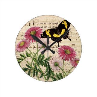 Relógio Redondo música da borboleta da margarida