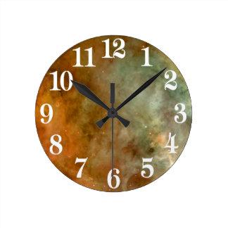 Relógio Redondo NASA do olhar do mármore da nebulosa de Carina