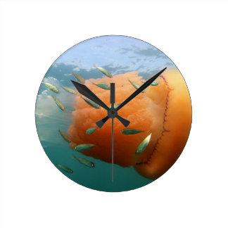 Relógio Redondo Natações das medusa do tambor com cavala