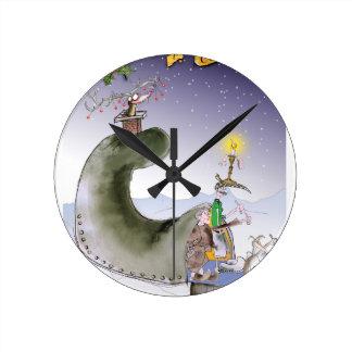 Relógio Redondo Natal feliz de yorkshire do amor