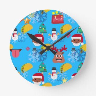 Relógio Redondo Natal preto do taco do papai noel