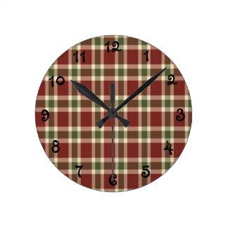 Relógio Redondo Natal-xadrez