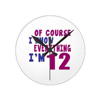 Relógio Redondo Naturalmente eu sei que tudo eu sou 12