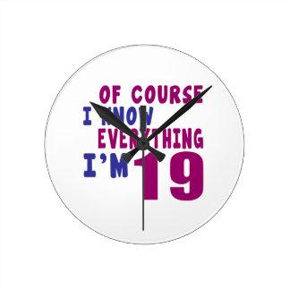 Relógio Redondo Naturalmente eu sei que tudo eu sou 19
