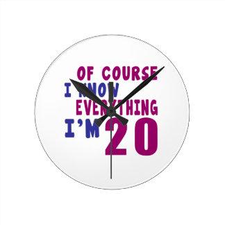 Relógio Redondo Naturalmente eu sei que tudo eu sou 20