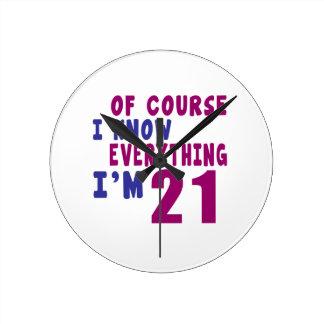 Relógio Redondo Naturalmente eu sei que tudo eu sou 21