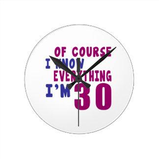 Relógio Redondo Naturalmente eu sei que tudo eu sou 30