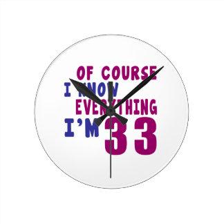 Relógio Redondo Naturalmente eu sei que tudo eu sou 33