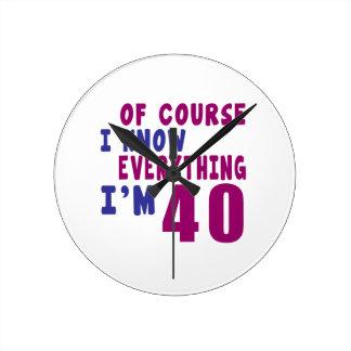 Relógio Redondo Naturalmente eu sei que tudo eu sou 40