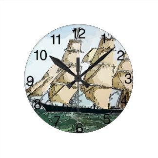 Relógio Redondo Navio de tosquiadeira do vintage