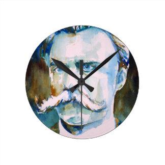 Relógio Redondo nietzsche de Friedrich - retrato da aguarela