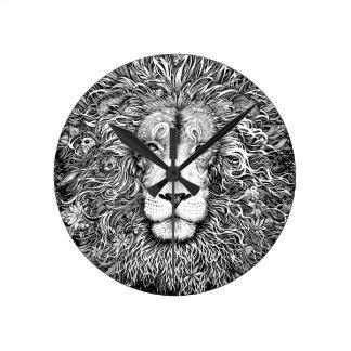 Relógio Redondo Ninho do leão preto e branco