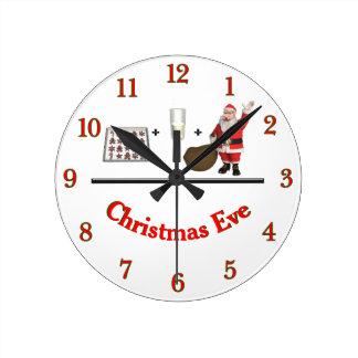 Relógio Redondo Noite de Natal do leite e dos biscoitos