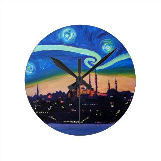 Relógio Redondo Noite estrelado em Istambul Turquia