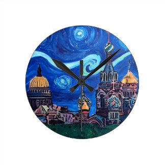 Relógio Redondo Noite estrelado em St Petersburg Rússia