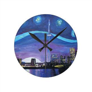 Relógio Redondo Noite estrelado em Toronto com inspirações de Van
