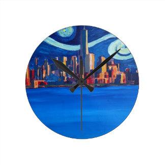 Relógio Redondo Noite estrelado na Nova Iorque - torre da