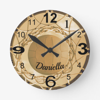 Relógio Redondo Nome feito sob encomenda Netball personalizado