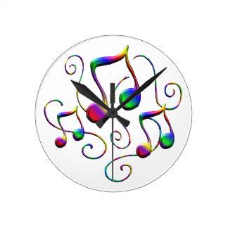 Relógio Redondo Notas da música e redemoinhos coloridos do