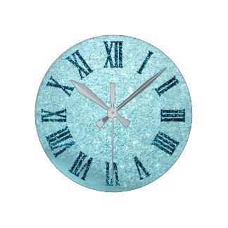 Relógio Redondo Número romano do brilho azul da cerceta do Aqua da