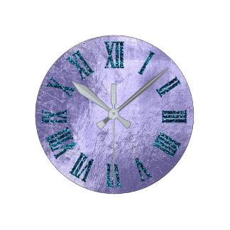 Relógio Redondo Número romano do brilho metálico roxo da cerceta