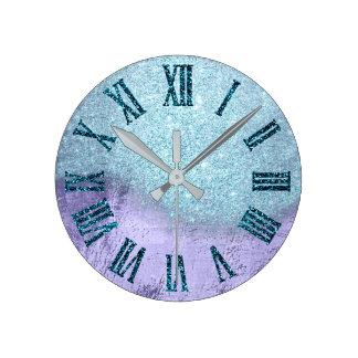 Relógio Redondo Número romano do brilho roxo da cerceta do Aqua de
