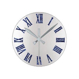 Relógio Redondo Números romanos de prata cinzentos do metal azul