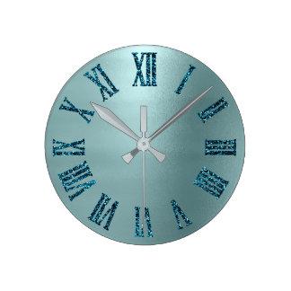 Relógio Redondo Números romanos do brilho mínimo da cerceta do