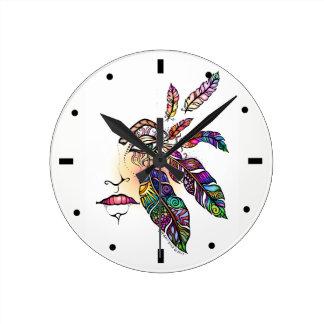 Relógio Redondo O amor do OLHO EMPLUMA-SE a arte da fantasia