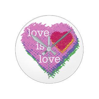 Relógio Redondo O amor é pulso de disparo do coração do amor