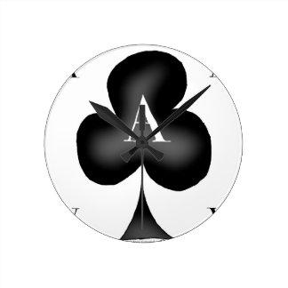 Relógio Redondo O ás de clubes por Tony Fernandes