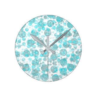 Relógio Redondo O azul afligido mancha o teste padrão