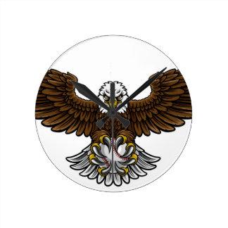 Relógio Redondo O basebol de Eagle ostenta a mascote