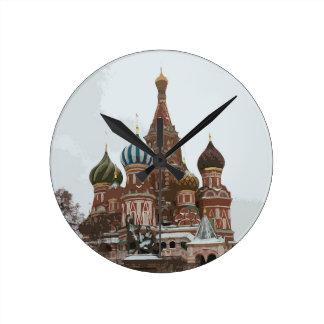 Relógio Redondo O cathedral_russo da manjericão do santo