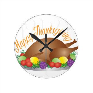 Relógio Redondo O dia da acção de graças cozeu a ilustração do